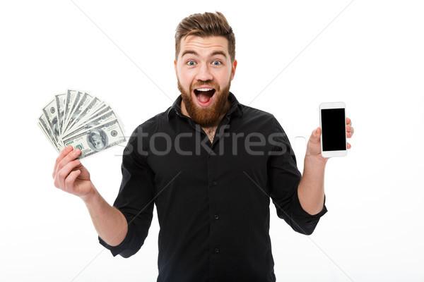 Feliz sorprendido barbado hombre de negocios camisa Foto stock © deandrobot