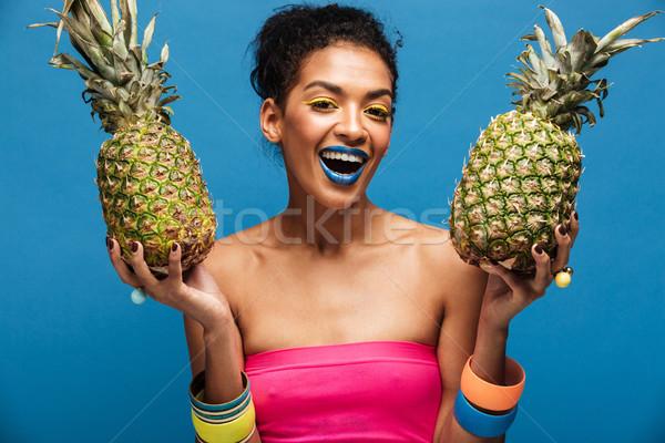 Ritratto gioioso afro americano donna moda Foto d'archivio © deandrobot