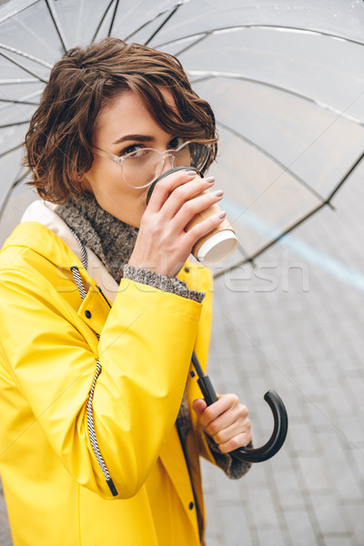 Young woman dressed in raincoat Stock photo © deandrobot