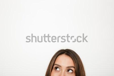 顔 謎 ブルネット 女性 ストックフォト © deandrobot