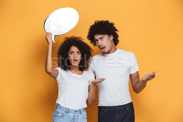 Portré zavart fiatal afro amerikai pár Stock fotó © deandrobot