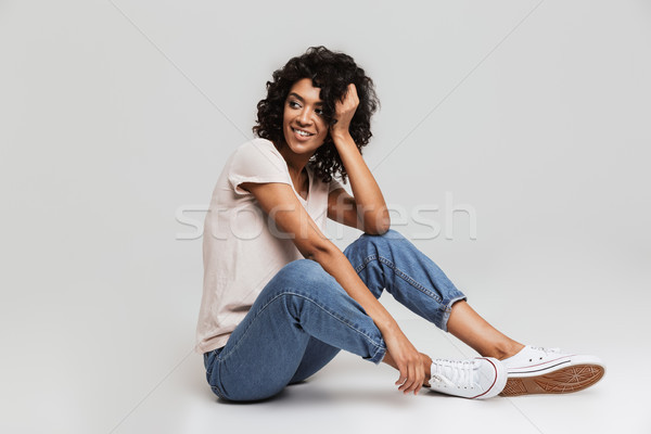Ritratto gioioso giovani afro americano Foto d'archivio © deandrobot
