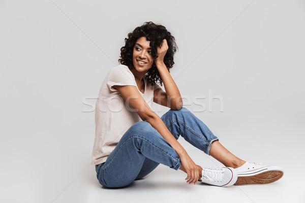 Porträt freudige jungen afro Stock foto © deandrobot