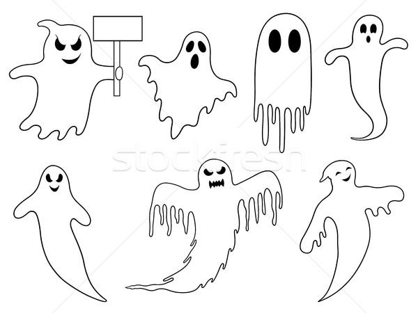 Conjunto diferente fantasmas isolado branco morte Foto stock © DeCe