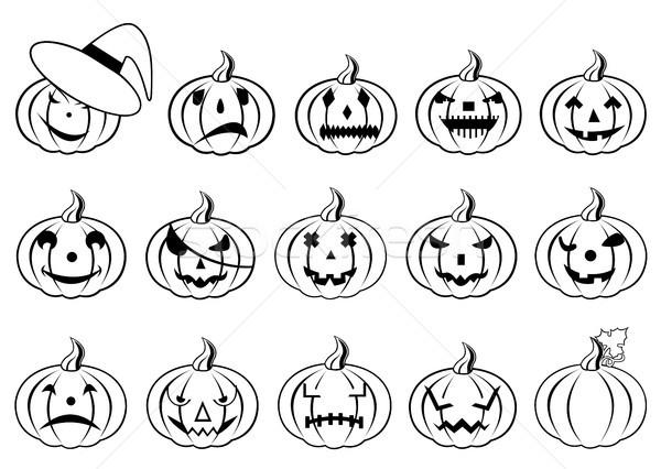 Halloween tökök izolált fehér boldog fekete Stock fotó © DeCe