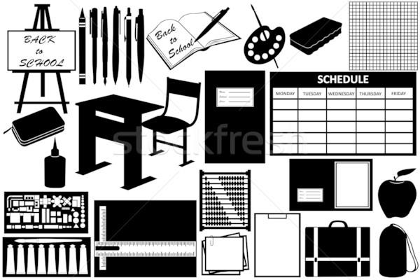 Különböző tárgyak iskola izolált fehér papír Stock fotó © DeCe