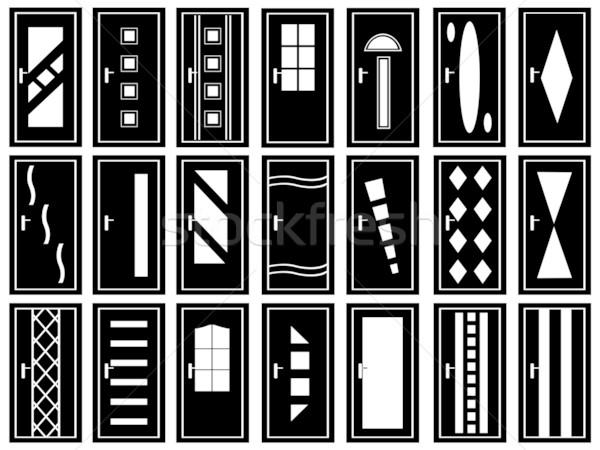 Illusztráció ajtók izolált fehér terv üveg Stock fotó © DeCe