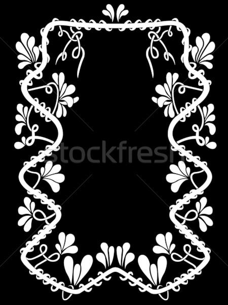 Virágmintás keret fekete textúra háttér fehér Stock fotó © DeCe