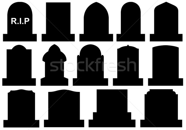 Illustration of different Halloween gravestones Stock photo © DeCe