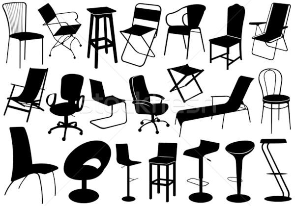 Illusztráció székek szett izolált fehér bútor Stock fotó © DeCe