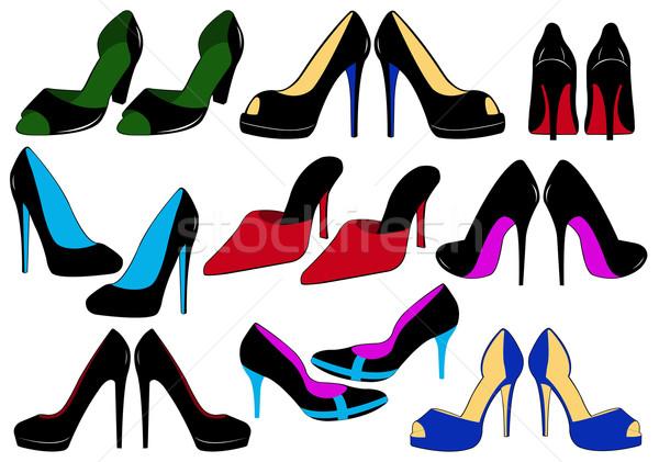 Illusztráció különböző cipők izolált fehér nő Stock fotó © DeCe