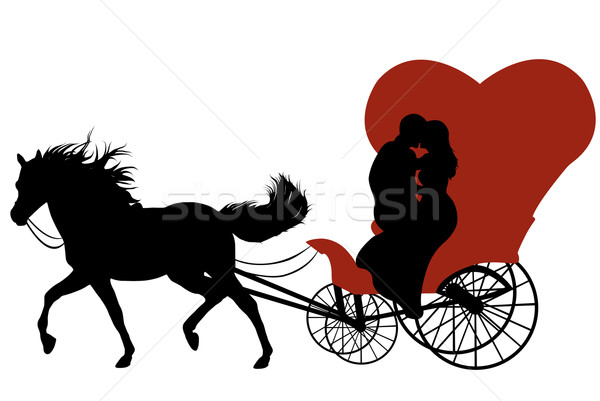 結婚式 キャリッジ 黒 シルエット 馬 赤 ストックフォト © DeCe
