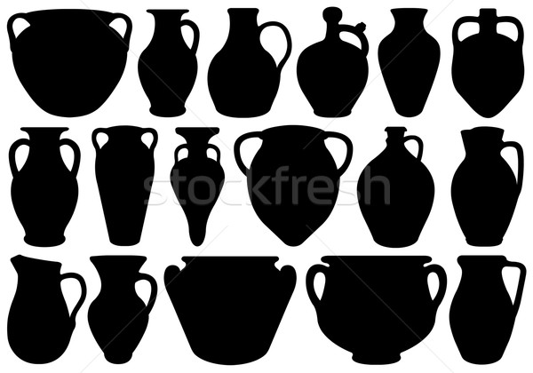Set Of Different Clay Pottery Stock photo © DeCe