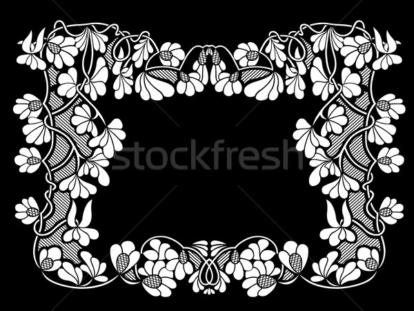 Stock fotó: Virágmintás · keret · fekete · terv · levél · háttér