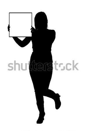 Keret nő tart felirat izolált fehér Stock fotó © DeCe