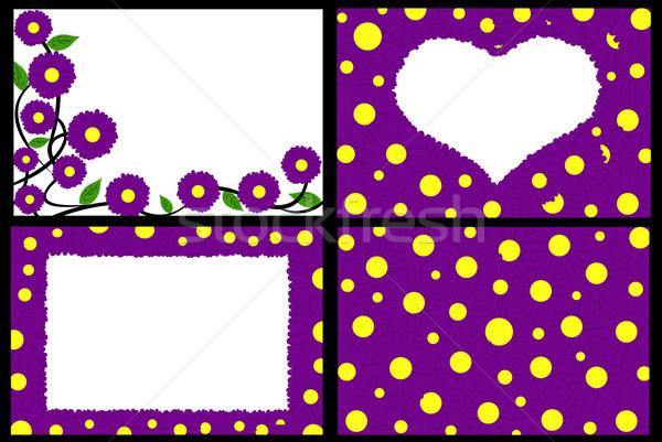 Stock fotó: Virágmintás · keret · lila · virágok · illusztráció · háttér