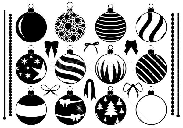 Szett különböző karácsony díszítések izolált fehér Stock fotó © DeCe