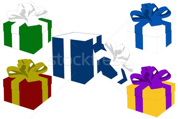 Stock fotó: Ajándékok · izolált · fehér · születésnap · piros · ajándék