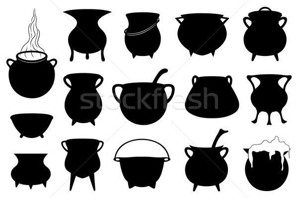 Set of different Halloween witches pots  Stock photo © DeCe