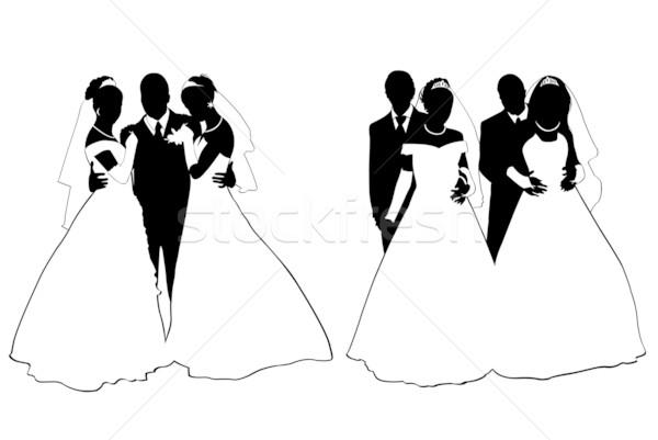 Esküvő pár sziluett izolált fehér szeretet Stock fotó © DeCe