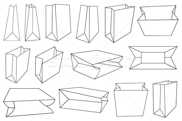 Stock fotó: Illusztráció · különböző · papírzacskók · izolált · fehér · terv