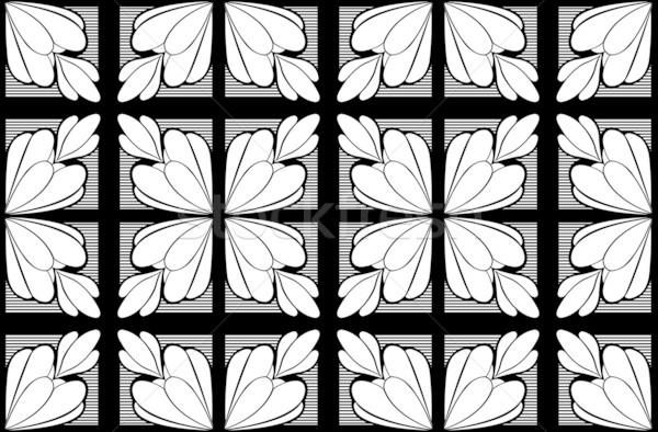 Végtelenített feketefehér virág textúra fekete minta Stock fotó © DeCe