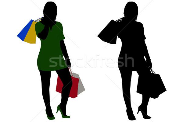 Nők vásárlás izolált fehér üzlet divat Stock fotó © DeCe