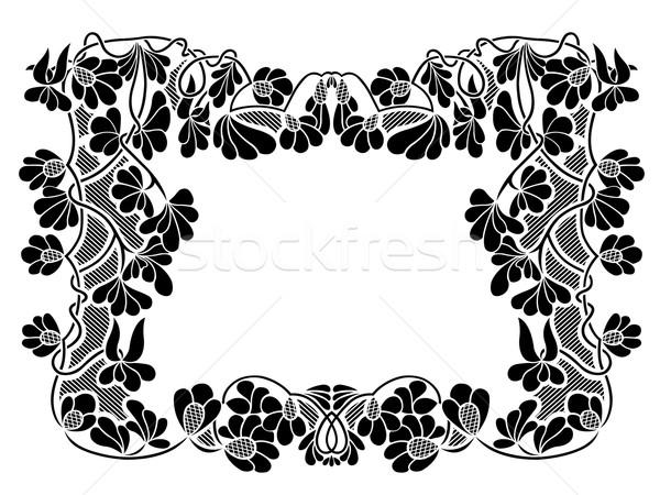 Virágmintás keret izolált fehér textúra levél Stock fotó © DeCe