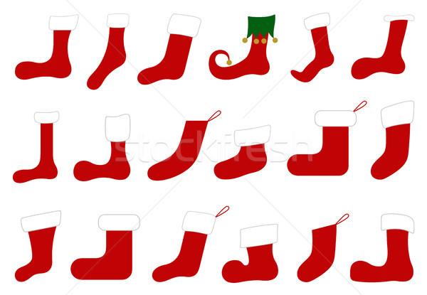 Illusztráció különböző karácsony zokni izolált fehér Stock fotó © DeCe