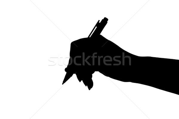 Kéz sziluett tart toll izolált fehér Stock fotó © DeCe