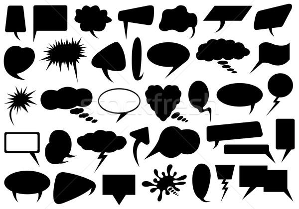 Stock fotó: Szett · különböző · szövegbuborékok · izolált · fehér · sziluett