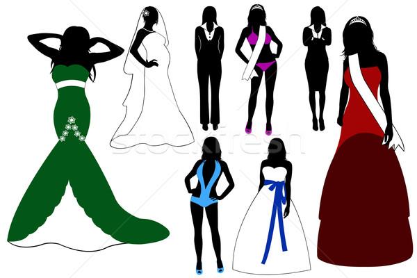 Illusztráció nők sziluett visel különböző ruhák Stock fotó © DeCe