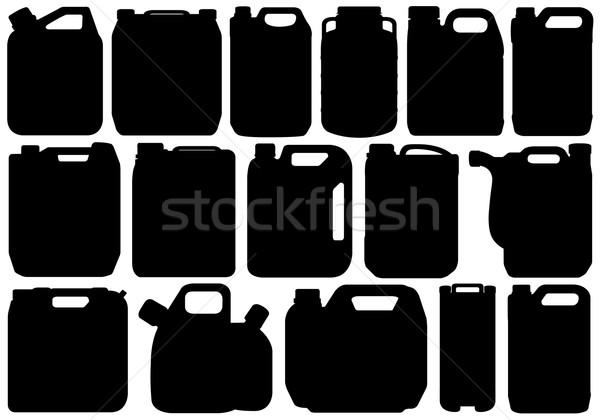 Különböző izolált fehér olaj fekete sziluett Stock fotó © DeCe