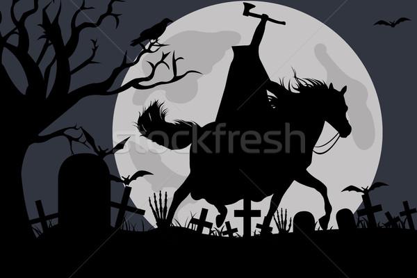 Illusztráció ló éjszaka kő halott állat Stock fotó © DeCe