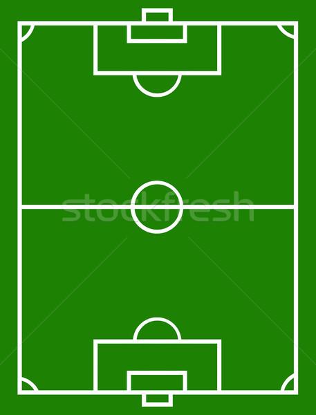 Foto stock: Campo · de · futebol · verde · branco · grama · esportes · futebol