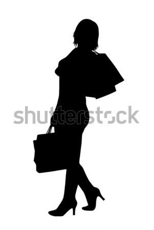 Nő sziluett vásárlás izolált fehér üzlet Stock fotó © DeCe