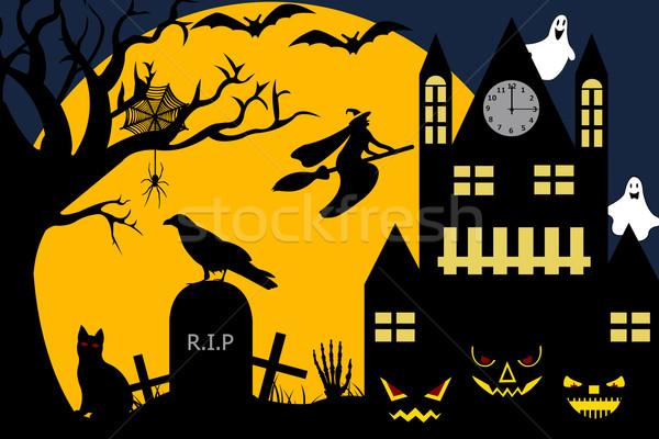 Хэллоуин иллюстрация ведьмой Flying кладбище часы Сток-фото © DeCe