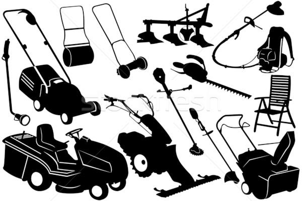 Kerti eszközök illusztráció felszerlés kéz szerszámok fekete Stock fotó © DeCe