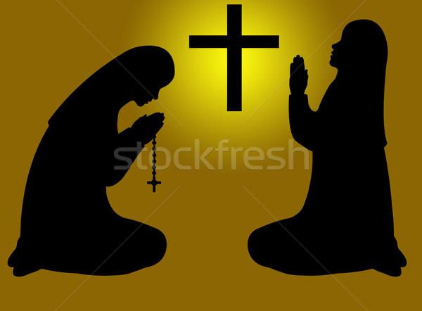 Imádkozik kereszt Jézus fekete sziluett imádkozik Stock fotó © DeCe