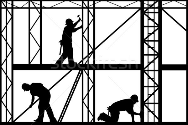 Construcción trabajadores aislado blanco hombres industria Foto stock © DeCe