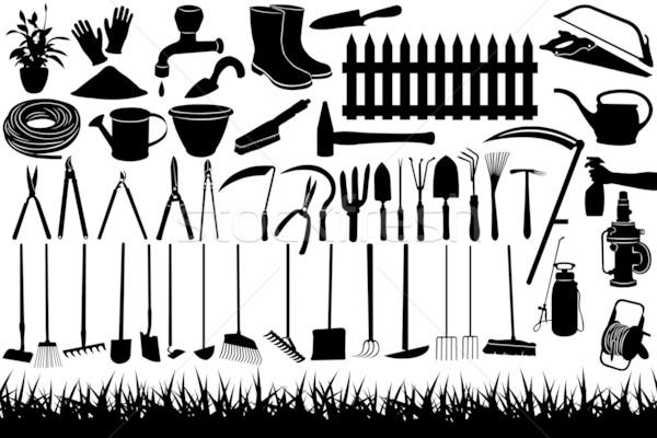 Kerti eszközök illusztráció felszerlés kéz szerszámok sziluett Stock fotó © DeCe