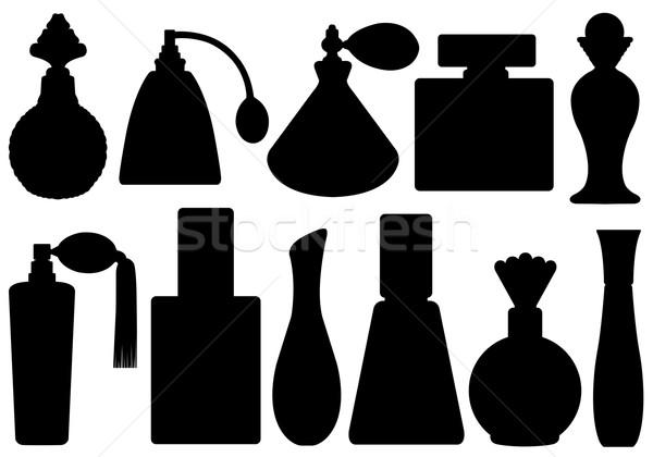 Szett parfüm üvegek izolált fehér fekete Stock fotó © DeCe