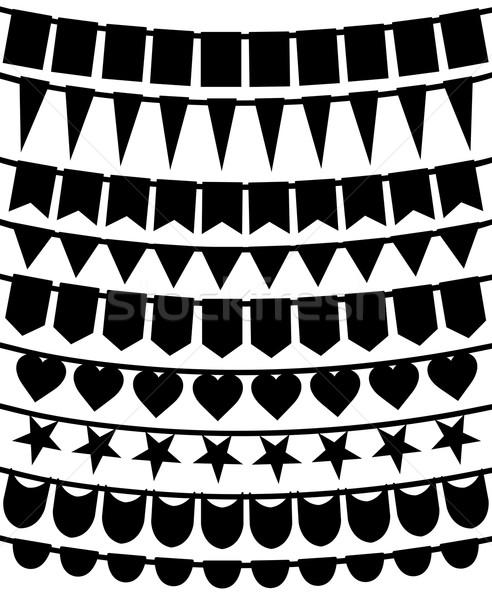 Szett különböző zászlók fonal izolált fehér Stock fotó © DeCe