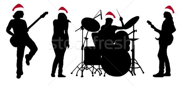 Stock fotó: énekel · zenekar · sziluett · izolált · fehér · nő