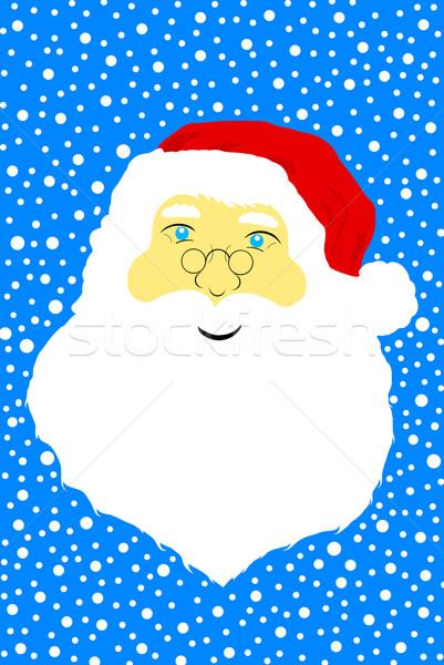 Arc mikulás kék mosoly boldog hó Stock fotó © DeCe