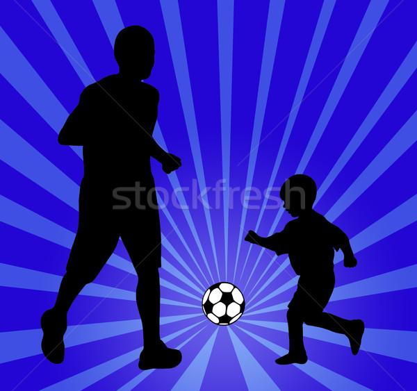 Stock fotó: Család · futball · kék · sugarak · gyerekek · sport