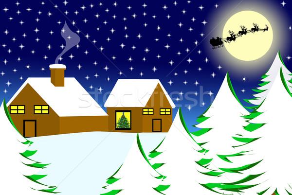 Karácsony tájkép égbolt otthon háttér jég Stock fotó © DeCe