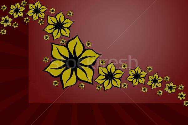 Virágmintás terv dekoráció piros sugarak Stock fotó © DeCe