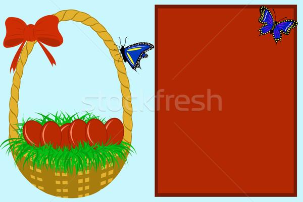 Húsvét üdvözlőlap kék piros fű pillangó Stock fotó © DeCe