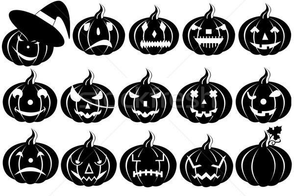 Halloween Pumpkins Silhouette Stock photo © DeCe